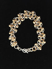 Chainmaille Silver and Gold Filled Roosa with Gold Balls Bracelet. 7 1/4 inches