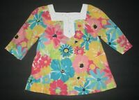 INFANT GIRLS JANIE AND JACK POOLSIDE PALMS BLUE PINK FLORAL TUNIC TOP SHIRT 3-6M