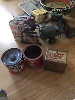 3 Vintage Tobacco Tins. Union Leader,sir Walter Raleigh And Cinco Humidir Tin. G