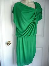 Alice + Olivia S/M Dress GREEN Luocell Ruched Skirt w/ Draped Asymmetrical Top
