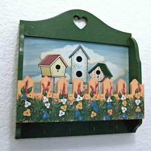 Mail Letter Key Holder Wall Mount Wooden Organizer Wall Mount Floral Birdhouses