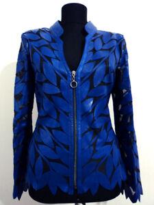 Blue Woman Leather Jacket Women Coat Zipper Short Light V Collar All Size D12