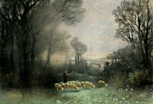 Adolf KAUFMANN 1848 - 1916 - Shepherd With Sheep on One Clearing IN The Forest