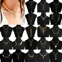 Boho Womens Multilayer Pearl Necklace Bib Choker Chunky Pendant Clavicle Chain