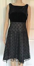 JONES WEAR DRESS Black Velvet Polka Dot Tie Knee Length Party Dress $60 NWT SZ 6