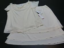 2 Piece Studio 1 Womens 24W Ivory Beaded Shirt & Skirt Outfit New