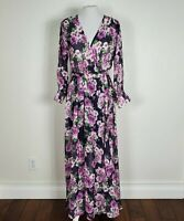 Haani Womens  Sz S Floral Maxi Dress V-neck Long Sleeves Purple Rose Belted