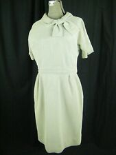 Vtg 60-70s Light Blue/Cream Woven Knit Bow Sheath Dress-Bust 36/XS