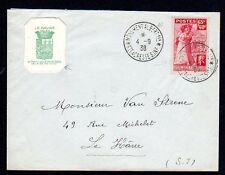 300317)..lettre ayant voyagé avec vignette le havre 1938 au profit des sinistrés