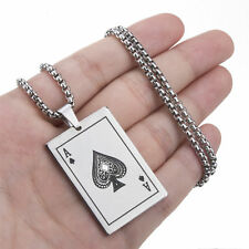 Men's Silver Ace of Spades Playing Card Stainless Steel Pendant Necklace Chain