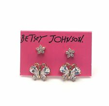 Betsey Johnson Flower And Butterfly Duo Set Stud Earrings $35