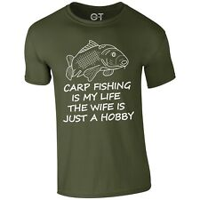 Carp Fishing tshirt bait banklife wife is just a hobby angling catfish S-3XL