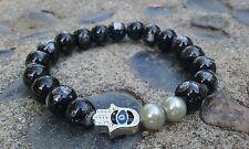 Handmade Luxury Beaded Black/Pearl Hand of Hamsa Bracelet No Metal affor_lux2013
