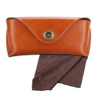 Leather Sunglasses Eyeglasses Glasses Case Eyewear Pouch Shell w/ cleaning cloth