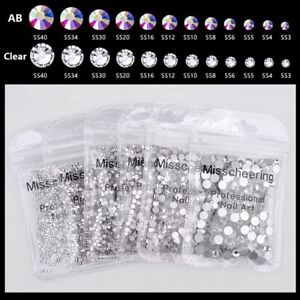 Professional Nail Art Rhinestones DIY Round Beads Flatback Glass Charms Gems