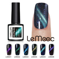 LEMOOC 8ml Chamäleon Cat Eye Gellack Magnetic Sequins Soak Off UV Gel Polish