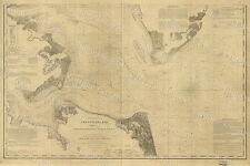 1863 CIVIL WAR ERA NAUTICAL CHART GIANT Historic MAP OF THE Chesapeake Bay AREA