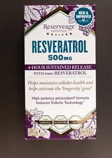 Reserveage Nutrition Resveratrol 500mg- 60 capsules 4-hour Sustained Release