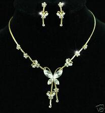 "27 /""de oro o plata tono Cadena Mariposa encanto del rhinestone claro cristales"