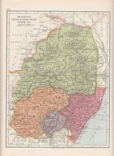 1923 MAP ~ AFRICA ~ TRANSVAAL ORANGE FREE STATE NATAL BASUTO