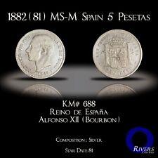 1882 (81) MS-M Spain 5 Pesetas (1881) - 81 Star Date (VF+ / XF)