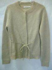 COTE FEMME Beige,Gold Metalic 42% Mohair Draw-Waist Cardigan Sweater NEW sz 2-4
