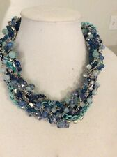 M Haskell Statement Necklace - Blue Beaded Necklace MH1