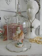 "Irish Dresden ""Breda"" Figurine~Porcelain Lace~Cut Glass Bell Shaped Cloche Dome"