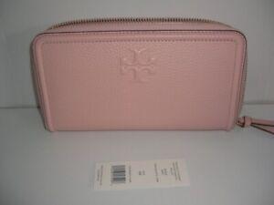 NEW Tory Burch Pebbled Leather Pink Quartz Zip Around Wallet
