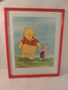 WINNIE THE POOH AND PIGLET Wall Picture with Red Plastic Frame, 20x16