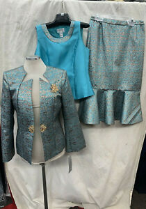TALLY TAYLOR  SKIRT SUIT/NEW WITH TAG/TEAL/GOLD/SIZE 14/RETAIL$299/SKIRT 32