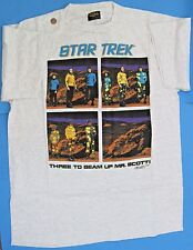T-SHIRT '91 vtg Star Trek TOS Spock McCoy Kirk THREE TO BEAM UP MR SCOTT Size XL