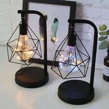Retro Table Lamp Bed Night Light Black Geometric Wire Industrial LED Lights Lamp