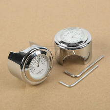7/8'' 1'' Handlebar Dial Clock Temp Thermometer For Harley Motorcycle Crusier