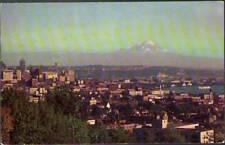 (v5w) Seattle WA: General View Showing Docks With Mount Rainier