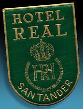 ALTER KOFFERAUFKLEBER | LUGGAGE LABEL 40er HOTEL REAL SANTANDER | GOLDPRÄGUNG