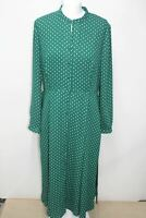 HOBBS Ladies Tarini Green Polka Dot Long Sleeve Midi Button Up Shift UK12 NEW