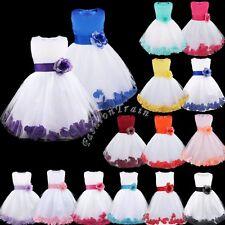 Kid Flower Girl Dress Wedding Bridesmaid Tutu Gown Princess Birthday Dress Party