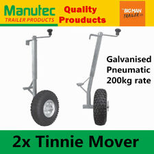 "2x Manutec 10"" Pneumatic Trailer Jockey Tinnie Wheels Mover Wheel Galvanised"