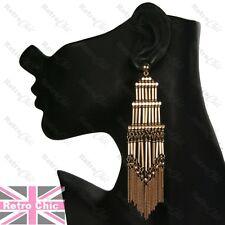 12cm long RETRO TOWER FRINGE vintage style GOLD FASHION EARRINGS chains boho