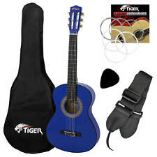More details for tiger left handed 3/4 size childs classical guitar package 9 - 11 years - blue