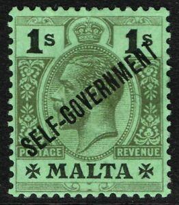 SG 110 MALTA 1922 - 1s BLACK/EMERALD - MOUNTED MINT