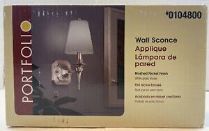 Portfolio Wall Sconce Lamp 0104800 Brushed Nickel Finish