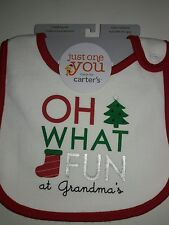 NWT Carter's Just One You One Size Bib Christmas Oh What Fun At Grandma's Cute!