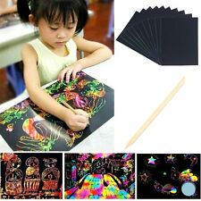 10 Sheet 16K Colorful Scratch Art Paper Painting Paper with Free Drawing Sticker