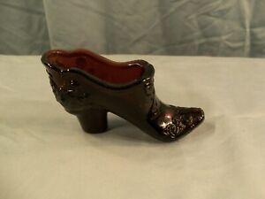 Mosser Dark Purple Amethyst Glass Bow & Scrolls Slipper or Shoe
