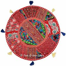 "22"" Red Round Floor Pillow Cushion Cover Tapestry Throw Seat Indian Home Decor"