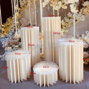 Paper Wedding Cylinder Round Plinth Pedestal Cake Dessert Flower Display Stand