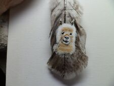 ALPACA, -Hand painted rare turkey feather, by artist W. W. Hoffert