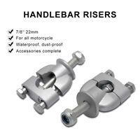Universal 7/8 Bars 22mm Raise Motorcycle Handlebar Bar Raisers Spacers Silver